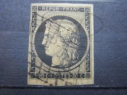 VEND BEAU TIMBRE DE FRANCE N° 3 , NOIR SUR JAUNE !!! (c) - 1849-1850 Ceres