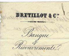 1867 BRETILLOT ET CIE BANQUE RECOUVREMENT Besançon Pour MONNIER à BAUDIN Par Sellières Jura B.E.V.SCANS - France
