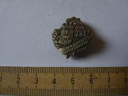 Insigne Décoration Broche Ancienne Argent Blason Laurier T+U TRAIT D'UNION SAINT GERMAIN EN LAYE - Army & War