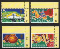 GUERNSEY - 1994 EUROPA ARCHAEOLOGY SET WITH CORNER MARGINS (4V) SG 634-637 FINE MNH ** - Guernsey