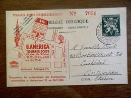 Kaart Postkaart  Uitgeg. Ter  Gel.  Der POSTZEGELTENTOONSTELLING  Te Antwerpen  1945 - Documents De La Poste