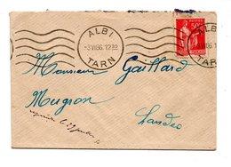 """LETTRE . TYPE """" PAIX """" 50 C. ROUGE . D'ALBI (TARN) À MUGRON (LANDES) . 3 JUILLET 1936 - Réf. N°738T - 1921-1960: Période Moderne"""