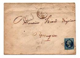 LETTRE . NAPOLÉON 20c . MUGRON LANDES . 15 JUIN 1862 - Réf. N°739T - Postmark Collection (Covers)