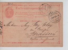 Suisse Entier CP 5c C.(Le) Locle 29/9/1873 V.(Le) Brassus C.d'arrivée PR5177 - Entiers Postaux