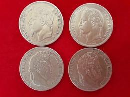 ECUS 5 FRANCS ARGENT LOUIS PHILIPPE 1ier - NAPOLEON III (lot De 4 Monnaies) - France