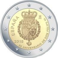 SPAIN / ESPAGNE - 2 Euro 2018 -  Le 50e Anniversaire Du Roi FELIPE VI - Espagne