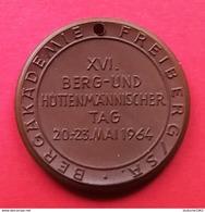 Allemagne.Médaille Porcelaine (porzellan) Meissen 40mm - Académie Des Mines De Frieberg 1964 - [11] Collections