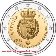 SPANIEN 2 Euro 2018 - 50. Geburtstag Von König Felipe VI. - UNC - Spain