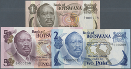 01150 Botswana: Set Of 3 Notes 1, 2 And 5 Pula ND(1976) P. 1-3, All With The Same Serial Number A/1 000208 - Botswana