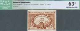 02032 Monaco: 25 Centimes 1920 P. 1a, In Condition: ICG Graded 63* UNC. - Mónaco