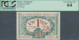 02033 Monaco: 1 Franc 1920 P. 5, Condition: PCGS Graded Very Choice New 64. - Mónaco