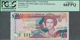 "02040 Montserrat: East Caribbean States Letter ""M"" = Montserrat 20 Dollars ND(1993) In UNC, PCGS Graded 66 - Billetes"