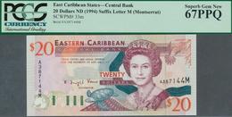 "02041 Montserrat: East Caribbean States Letter ""M"" = Montserrat 20 Dollars ND(1994) In UNC, PCGS Graded 67 - Billetes"