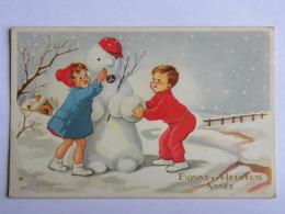 CPA - Illustrateur LAGARDE Jeanne - Bonne Et Heureuse Année - Enfants Et Bonhomme De Neige - Autres Illustrateurs