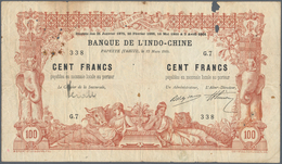 02472 Tahiti: 100 Francs 1914 Banque De L'Indochine P. 3, Several Larger Pinholes At Left, Two Larger Hole - Billetes