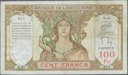 02476 Tahiti: 100 Francs ND P. 14c, Vertical And Horizontal Fold, A Few Minor Pinholes, Minor Border Tears - Billetes