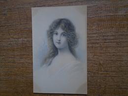 Très Belle Ancienne Carte De 1908 , Silhouette Ou Portrait D'une Jeune Fille - Silhouettes