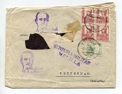 SPAIN TO HOLLAND 1938 COVER GUERRA CIVIL CENSURA MILITAR MELILLA SALUDO FRANCO - 1931-Today: 2nd Rep - ... Juan Carlos I