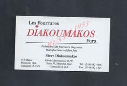 CDV CARTE DE VISITE DIAKOUMAKOS LES FOURRURES AU CANADA : - Visiting Cards