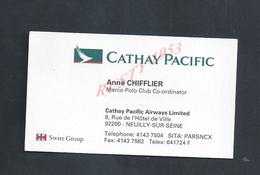 CDV CARTE DE VISITE ANNE CHIFFLIER CATHAY PACIFIC À NEUILLY SUR SEINE : - Cartes De Visite