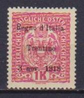 TRENTINO - ALTO ADIGE  1918   SOPRASTAMPATI   SASS. 15  MLH XF - Trentino