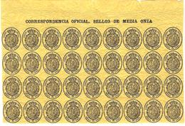 Edifil 35--bloque De 36 Sellos Del Servicio Oficial-cabecera De Pliego - 1850-68 Königreich: Isabella II.