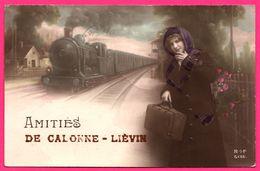 Amitiés De Calonne Liévin - Train à Vapeur - Wagons - Femme - Train En Gare - Montage - Animée - R.O.F. N° 5136 - 1915 - Lievin
