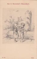 Albert Hendschel 'Skizzenbuch' Sketch Book Image #32 Boy And Girl Share Food,, C1910s Vintage Postcard - Other Illustrators