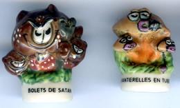 Lot De 2 FÈVES  Champignon Chanterelle Bolet De Satan - Série Champi Folies Prime 2003 - Fèves
