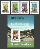 GRENADA GRENADINES 1986 SPORT FOOTBALL WORLD CUP MEXICO SET & M/SHEET MNH - Grenada (1974-...)