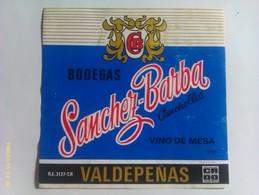 Etiqueta Vino Bodegas Sánchez Barba. Canchollas. D.O. Valdepeñas. Ciudad Real. Castilla La Mancha. España. Años '80 - Vino Tinto