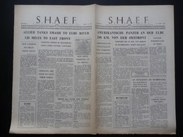 WWII WW2 Tract Flugblatt Propaganda Leaflet Newspaper, VG.3, S.H.A.E.F., Nr. 3, 12. April 1945 - AMERIKANISCHE PANZER... - Alte Papiere