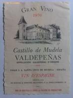 Etiqueta Vino Castillo De Mudela. Cosecha 1970. Santa Cruz De Mudela. Bodegas Visan. D.O. Valdepeñas. Ciudad Real - Vino Tinto
