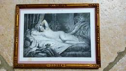 L ' ODALISQUE - Gravure Lithographie Par COLIN /LEMERCIER Imprimeur - Sous Joli Cadre Ancien Bois Doré - 23cmx17cm - Lithographies