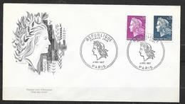 FDC Lettre Premier Jour Cachet Paris Le 4/11/1967 N°1535 Et 1536 Marianne De Cheffer   TB.. Soldé  à Moins De 20 % ! ! ! - 1967-70 Marianne De Cheffer