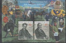 CZECH REPUBLIC ,2017,MNH, POSTAL HISTORY OF CZECH REPUBLIC, TRAINS, HORSES, VANS,   SHEETLET - Post