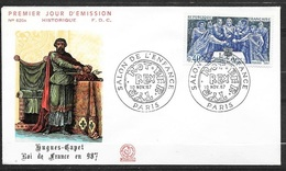FDC Lettre Premier Jour Cachet Paris Le 10/11/1967 N°1537 Hugues Capet   TB.. Soldé  à Moins De 20 % ! ! ! - Familles Royales