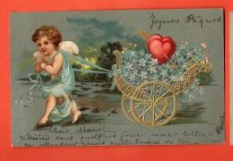 GCA-20  Ange Cupidon Attelé à Une Charette De Bleuets Avec Deux Coeurs Percés Par Une Flèche. Précurseur. 1904 - Anges