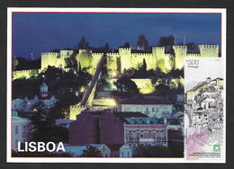 Portugal Carte Maximum Timbre Avec VRAIE SOIE Prix Architecture Aga Khan 2013 Maxicard Stamp With REAL SILK Engraved - Maximum Cards & Covers