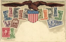 United States Of America, Stamp Collection, Coat Of Arms (1899) Postcard - Stamps (pictures)