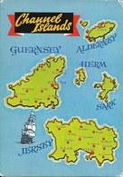 Cp Neuve , Carte Géographique Des Channel Islands, Jersey, Guernsey, îles Anglo-normandes, Sark, Herm, Alderney - Maps
