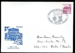 Sost. BRIEFKASTEN TELEFON Auf Bund PU115 C2/009 Privat-Umschlag OPERNHAUS FRANKFURT 1980 - Post