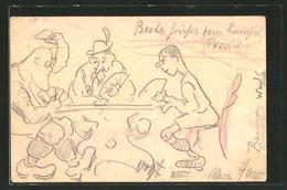Künstler-AK Handgemalt: Männer Beim Kartenspiel - Cartes à Jouer