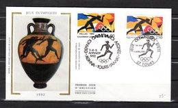 """FRANCE / GRECE De 1992"""" J.O. D'ETE BARCELONE """" Sur Enveloppe 1er Jour. N° YT  2745 + GRECE N° YT 1781. Parfait état. FDC - Emissions Communes"""