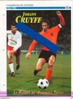 18/5 Fiche Football 25 X 18,5 Cm 2 Scans JOHANN CRUYFF NEDERLAND BARCELONE BARCELONA ESPANA - Football