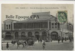 75 - PARIS 12 - #368 - Gare De Vincennes - Place De La Bastille +++ JH / J. H. +++ 1907 - District 12