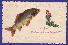 1er Avril Découpis Gaufrage LUTIN ET POISSON 1911 ( Très Très Bon état ) Ww980) - 1er Avril - Poisson D'avril