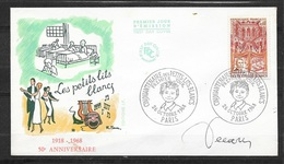FDC Lettre  Premier Jour Cachet Paris Le 26/10/1968 N°1575 Bal Des Petits Lits Blancs TB ...signé Par DECARIS  ! ! ! - Curiosidades: 1960-69 Cartas