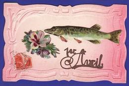 1er Avril Découpis FLEURS Et POISSON Brochet ( Très Très Bon état ) Ww974) - 1er Avril - Poisson D'avril