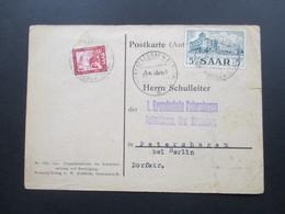 Saargebiet 1953 Postkarte Antwortkarte Aufnahmebescheinigung Evangelische Volksschule Hangard Saar. - 1947-56 Allierte Besetzung